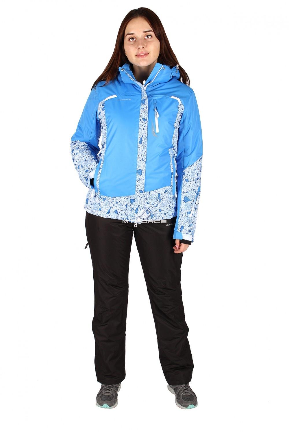 Костюм горнолыжный женский синего цвета 017122S