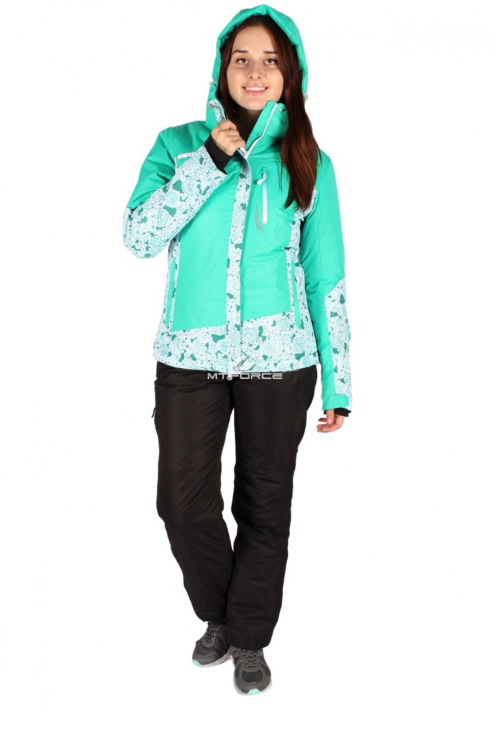 Костюм горнолыжный женский зеленого цвета 017122Z