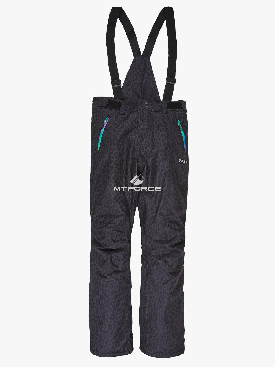 Купить оптом Женские зимние горнолыжные брюки (батал) темно-серого цвета 005TC в Казани