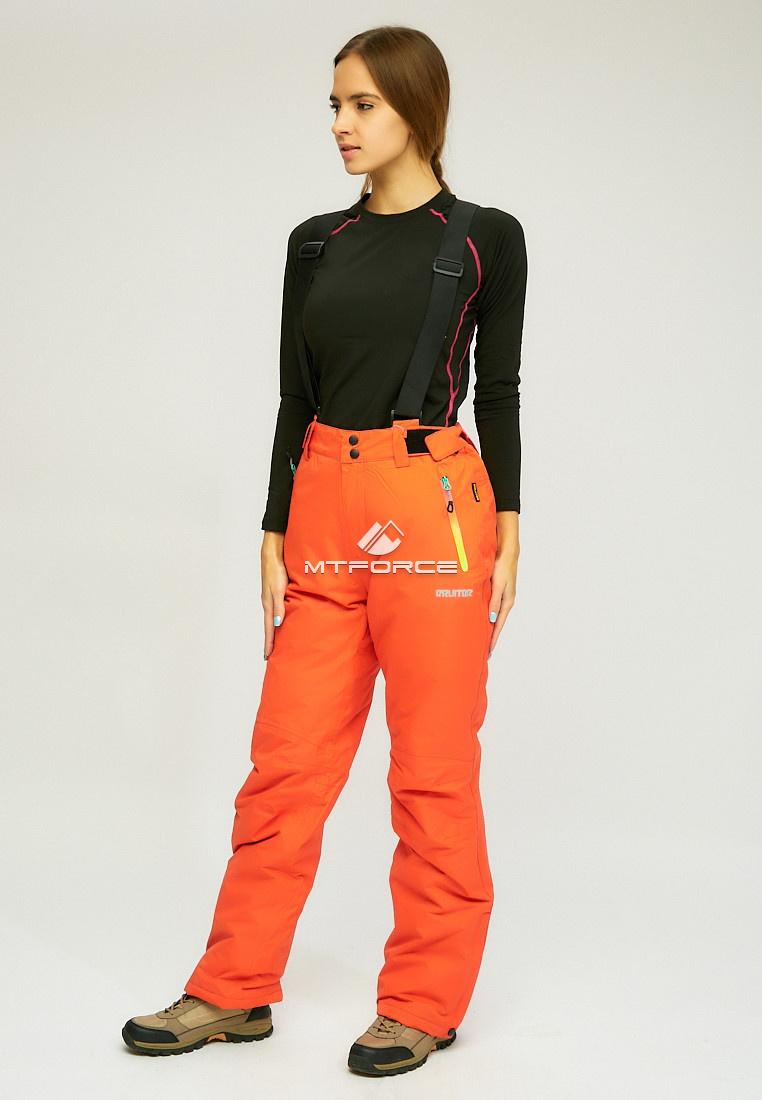 Купить оптом Женские зимние горнолыжные брюки (батал) оранжевого цвета 005O в Санкт-Петербурге