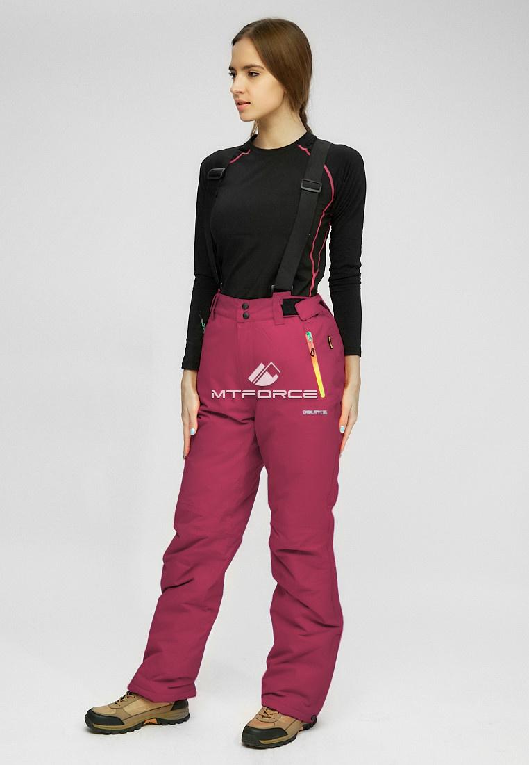 Купить оптом Женские зимние горнолыжные брюки (батал) бордового цвета 005Bo в Самаре