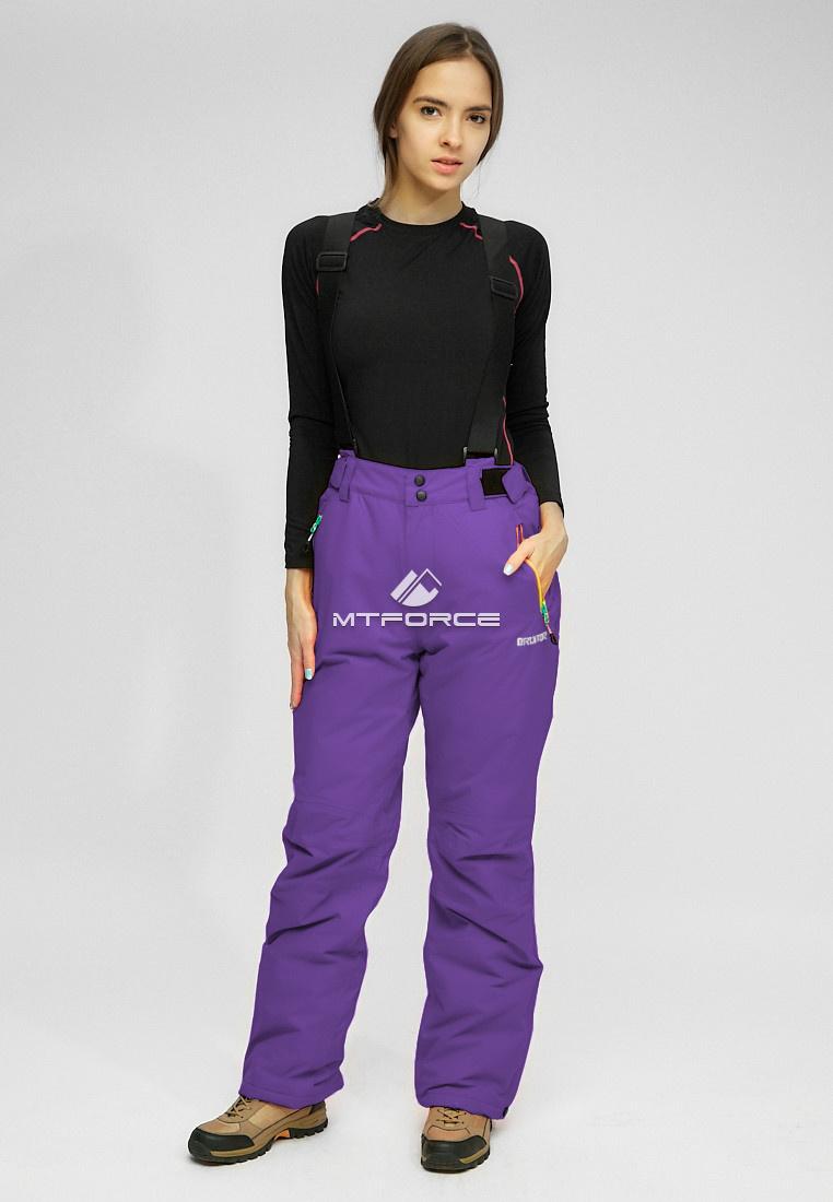 Купить оптом Женские зимние горнолыжные брюки (батал) темно-фиолетового цвета 005TF в  Красноярске