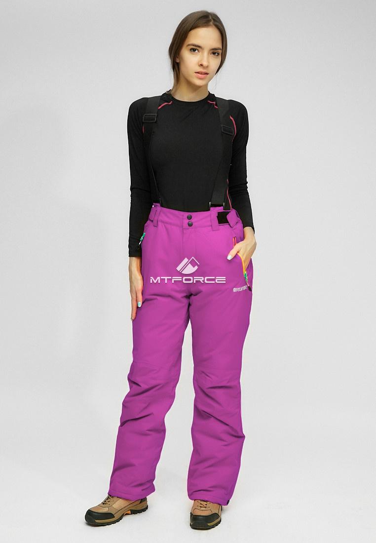 Купить оптом Женские зимние горнолыжные брюки (батал) фиолетового цвета 005F в Санкт-Петербурге