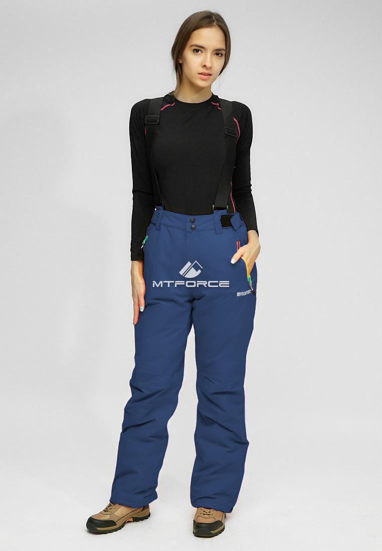 Купить оптом Женские зимние горнолыжные брюки (батал) темно-синего цвета 005TS в Самаре