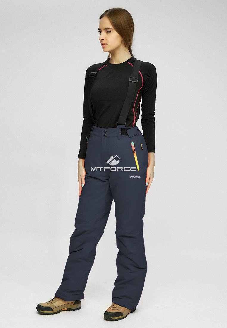 Купить оптом Женские зимние горнолыжные брюки (батал) черного цвета 005Ch в Самаре