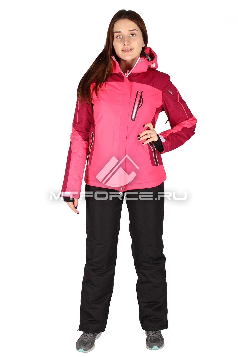 Купить                                  оптом Костюм горнолыжный женский розового цвета 01529R в Санкт-Петербурге