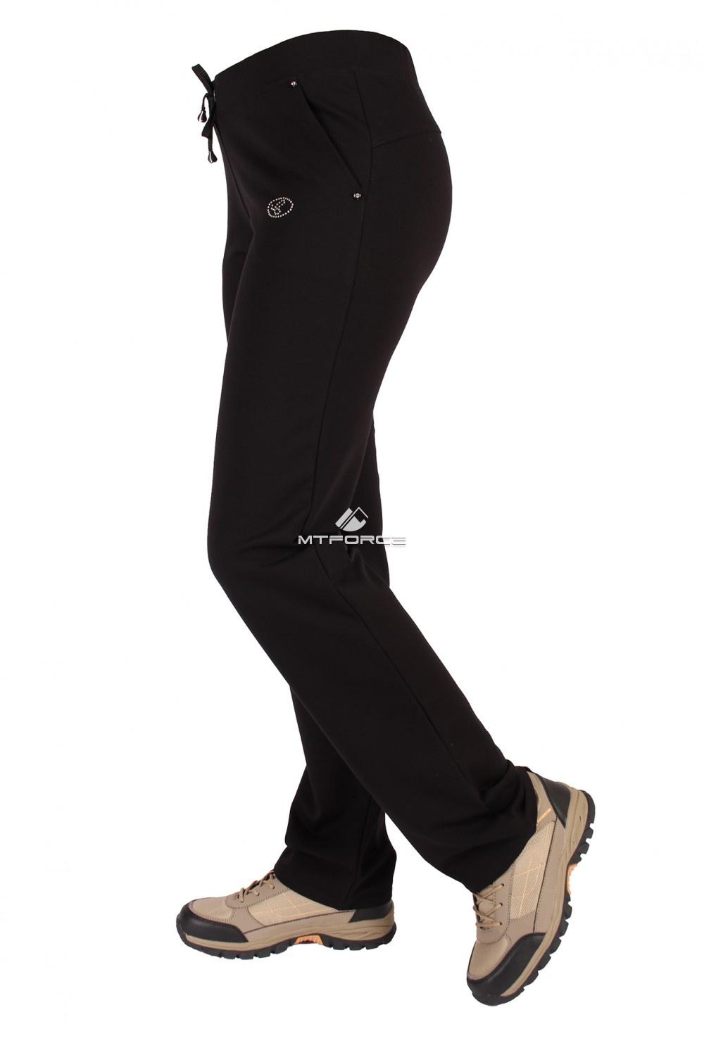 Купить оптом Брюки трикотажные женские черного цвета 015Ch в Омске