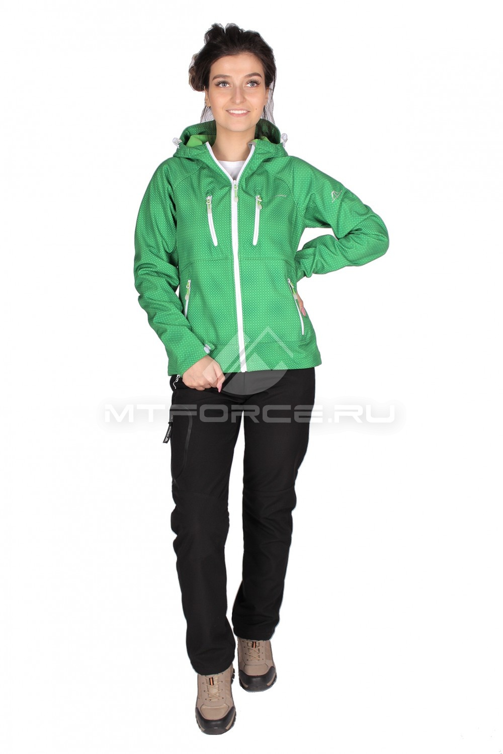 Купить  оптом Костюм виндстопер женский зеленого цвета 01736Z