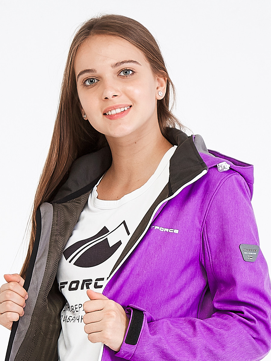 Купить оптом Костюм женский softshell фиолетового цвета 019077F в Новосибирске