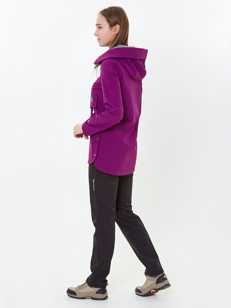 Купить оптом Костюм анорак женский softshell фиолетового цвета 01914F в Воронеже