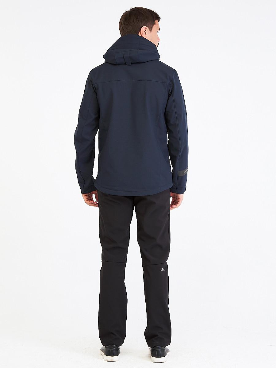 Купить оптом Костюм мужской softshell темно-синего цвета 01915TS