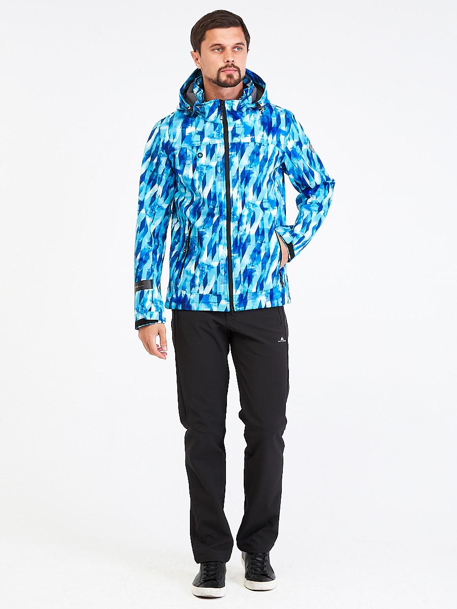 Купить оптом Костюм мужской softshell синего цвета 01915S в  Красноярске