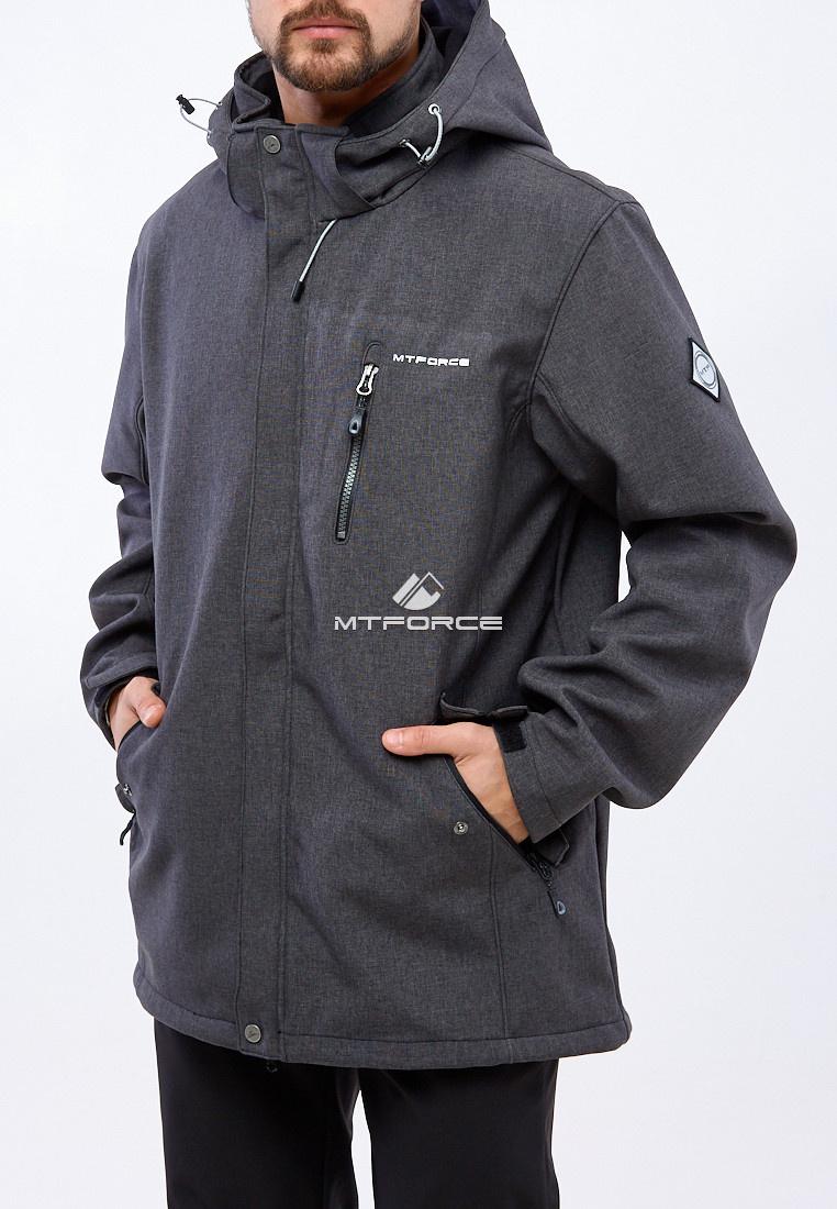 Купить оптом Костюм мужской большого размера softshell темно-серого цвета 01921TC в Казани