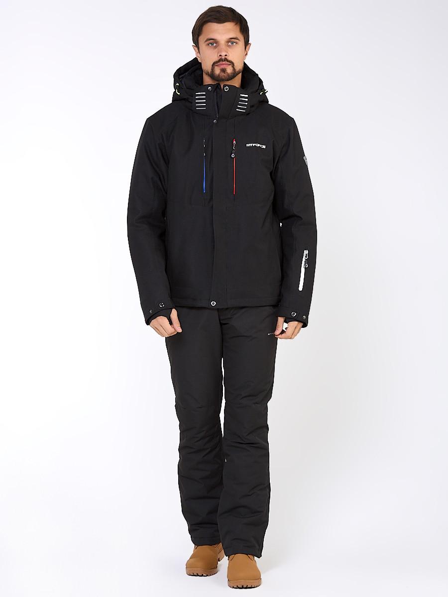 Купить оптом Мужской зимний горнолыжный костюм черного цвета 01947Ch в Перми