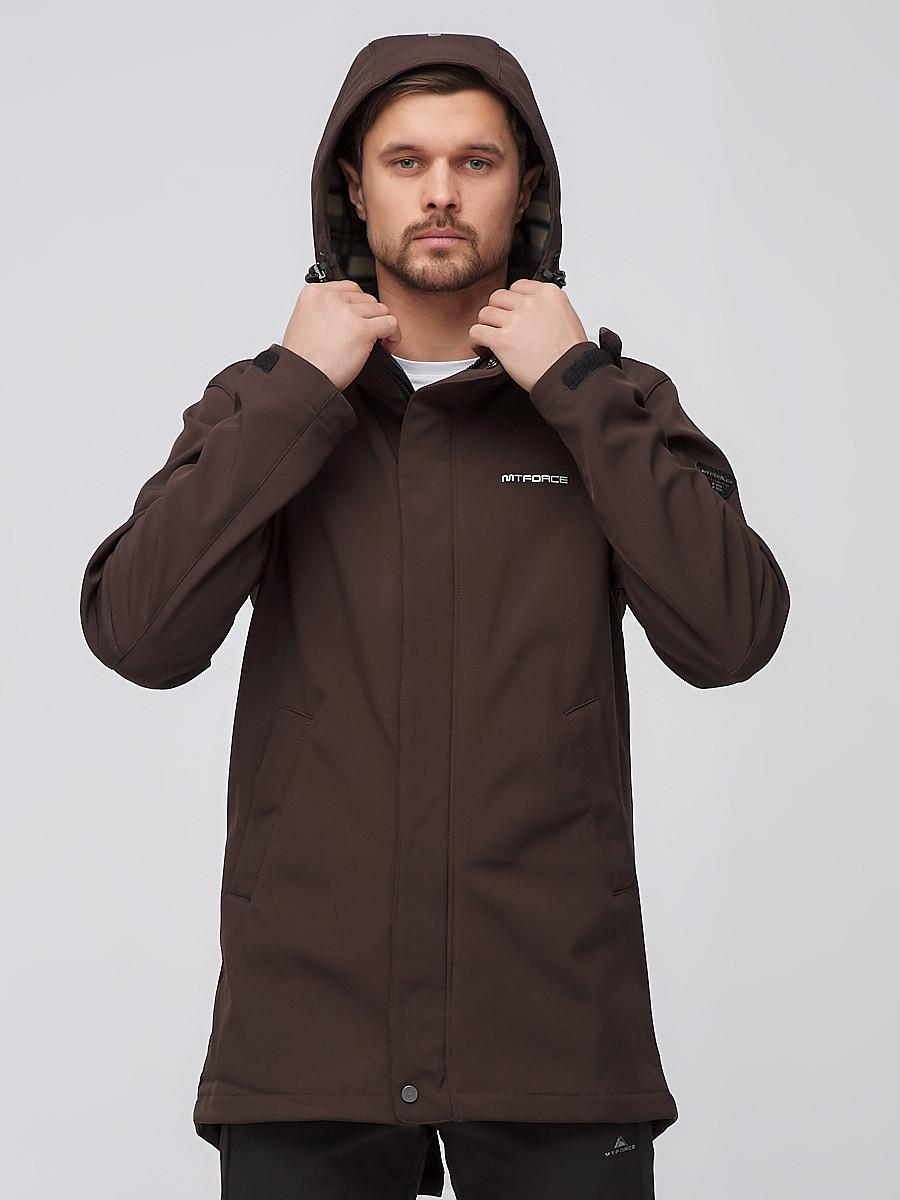 Купить оптом Спортивный костюм мужской softshell коричневого цвета 02010K