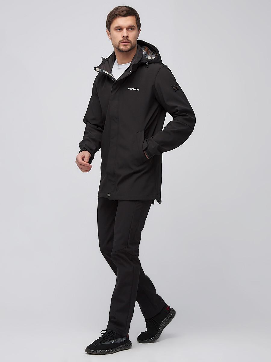 Купить оптом Спортивный костюм мужской softshell черного цвета 02010Ch