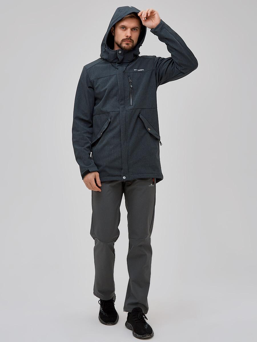 Купить оптом Спортивный костюм мужской softshell серого цвета 02018Sr в Санкт-Петербурге