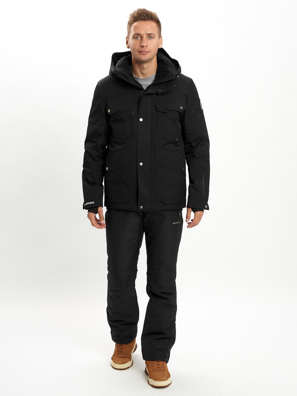 Купить оптом Горнолыжный костюм мужской MTFORCE черного цвета 02088Ch в Екатеринбурге