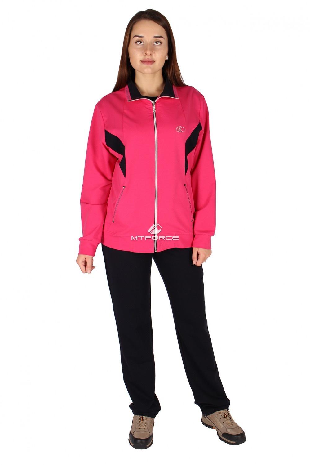 Купить оптом Спортивный костюм женский большого размера розового цвета 0022R в Санкт-Петербурге