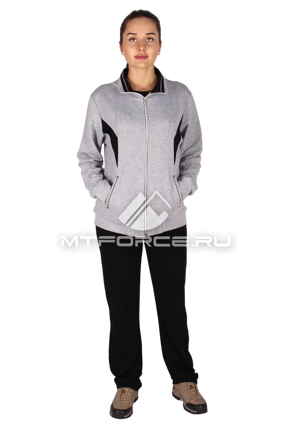Купить                                  оптом Спортивный костюм женский большого размера серого цвета 0022Sr