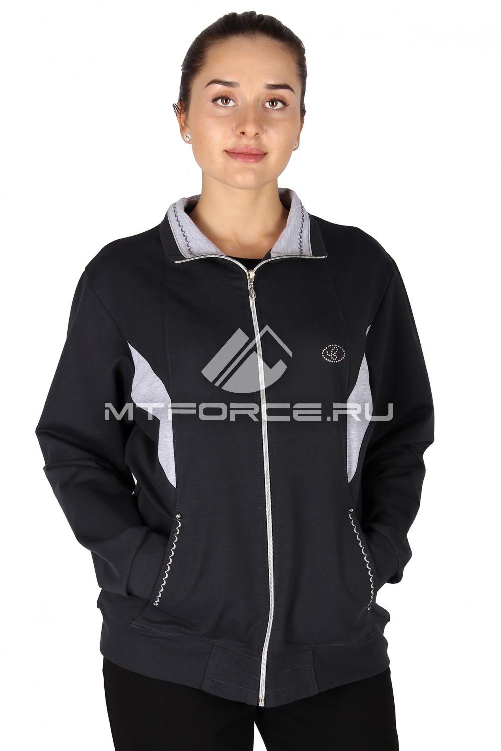 Купить                                  оптом Олимпийка женская большого размера темно-серого цвета 022TC