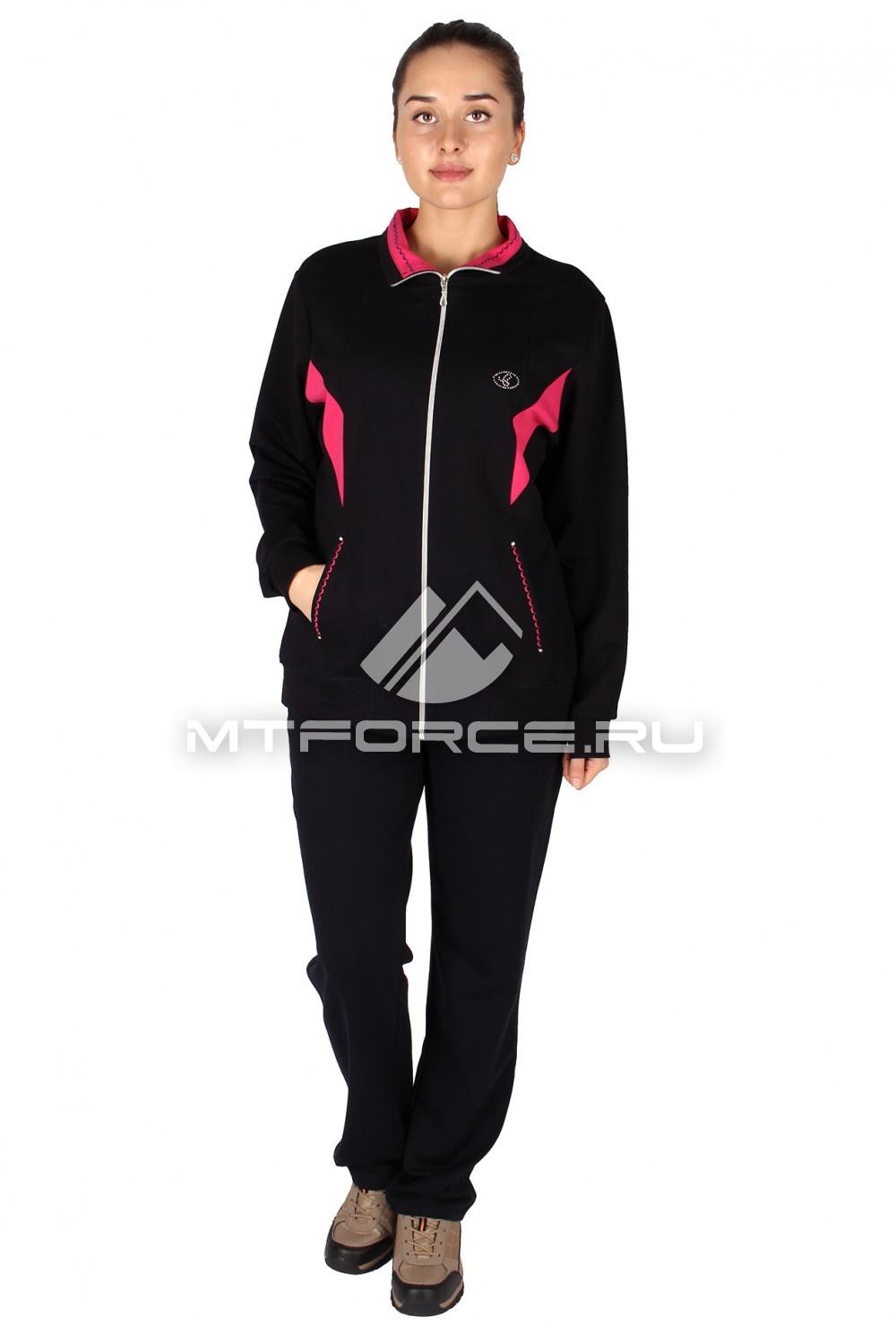 Купить                                  оптом Спортивный костюм женский большого размера черного цвета 0022Ch
