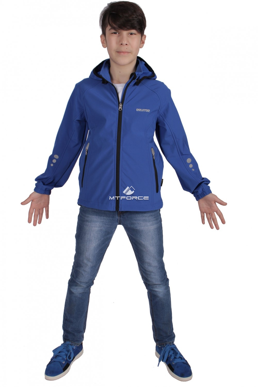 Купить оптом Куртка ветровка подростковая для мальчика синего цвета 034-2S в Новосибирске