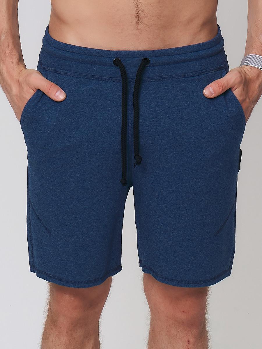 Купить оптом Летние шорты трикотажные мужские темно-синего цвета 050620TS