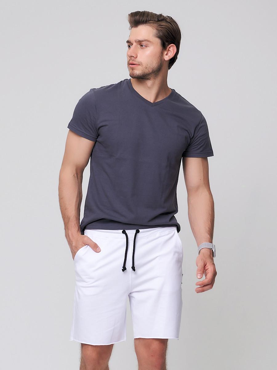 Купить оптом Летние шорты трикотажные мужские белого цвета 050620Bl