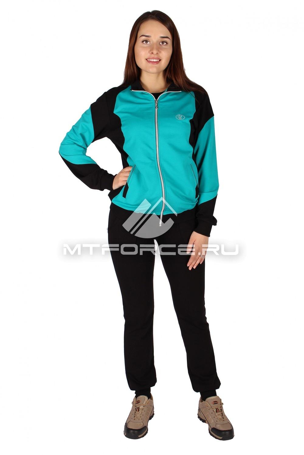 Купить                                  оптом Спортивный трикотажный костюм женский бирюзового цвета 0050Br в Санкт-Петербурге