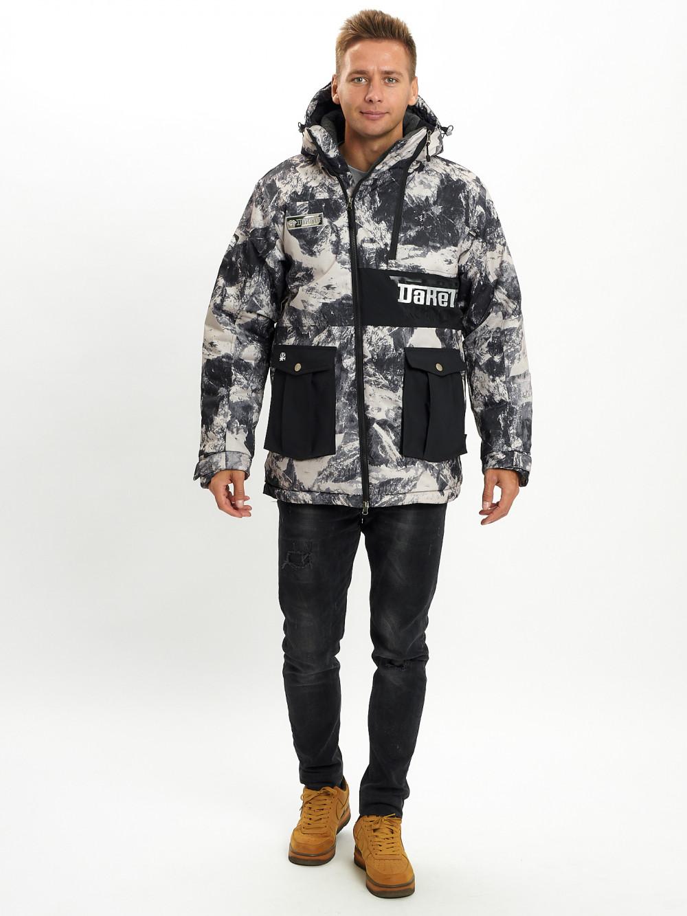 Купить оптом Молодежная зимняя куртка мужская бежевого цвета 059B в Екатеринбурге