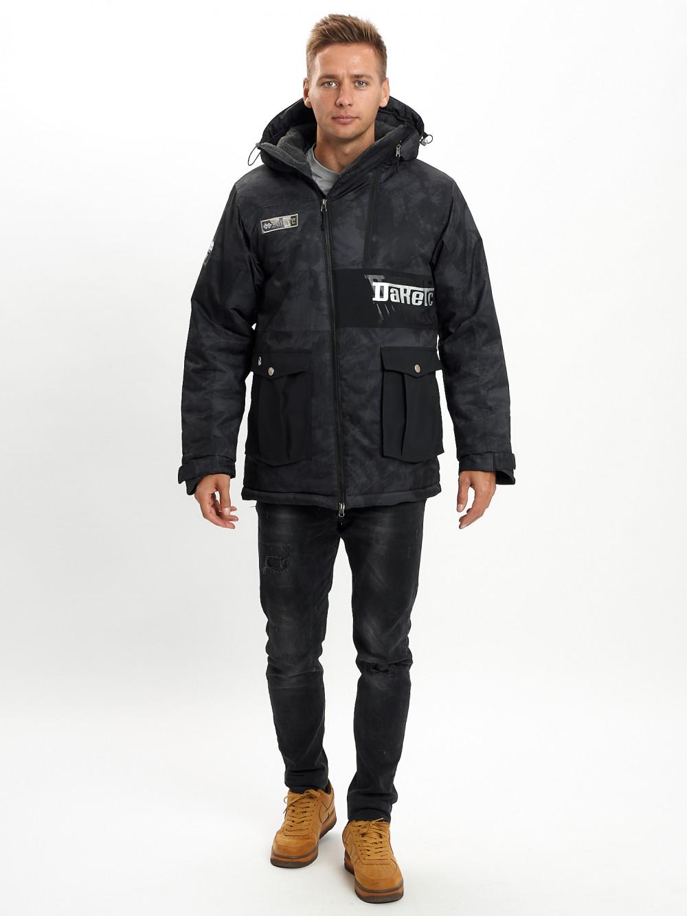 Купить оптом Молодежная зимняя куртка мужская черного цвета 059Ch в Екатеринбурге