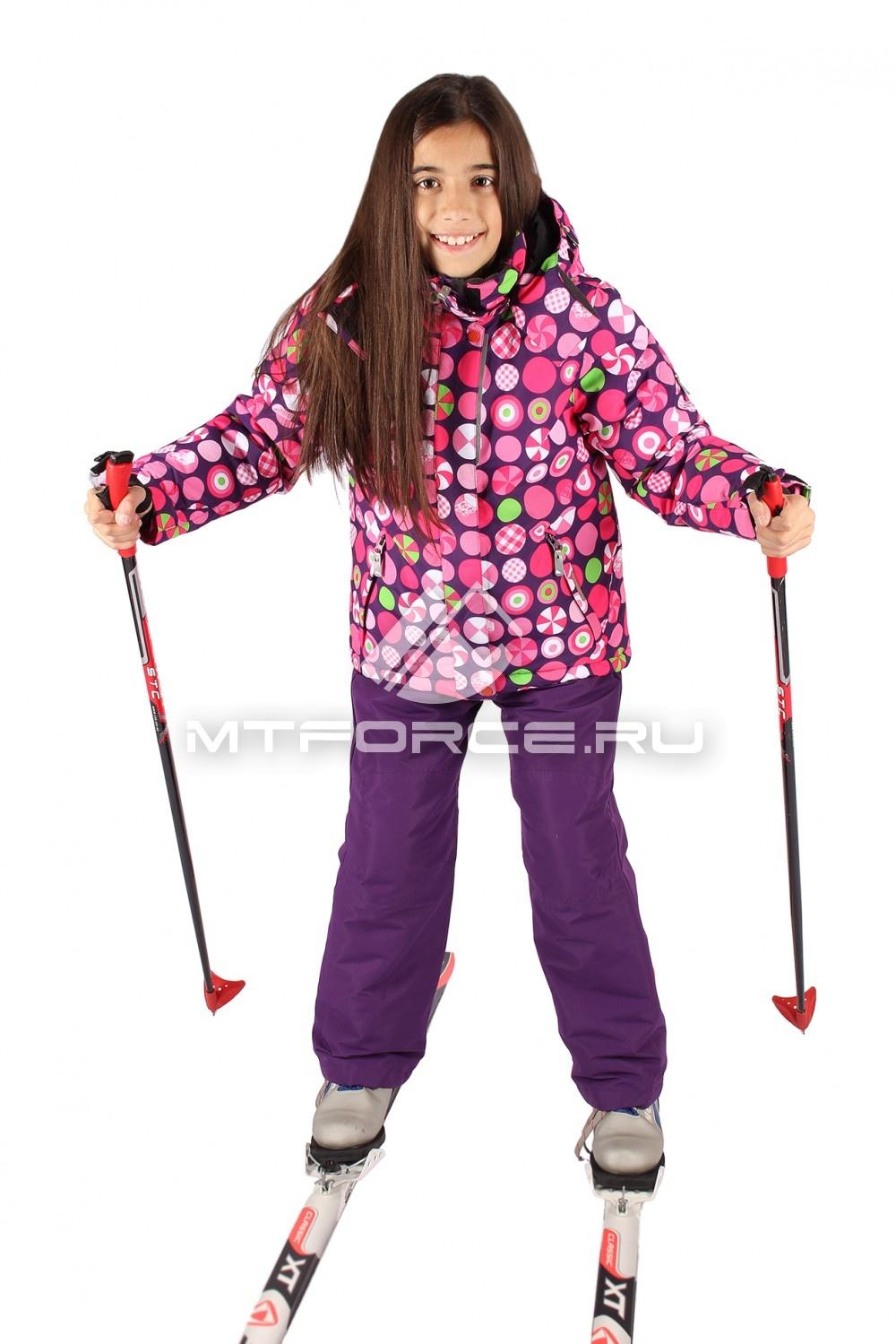 Купить оптом Костюм горнолыжный  для девочки розового цвета 0602R