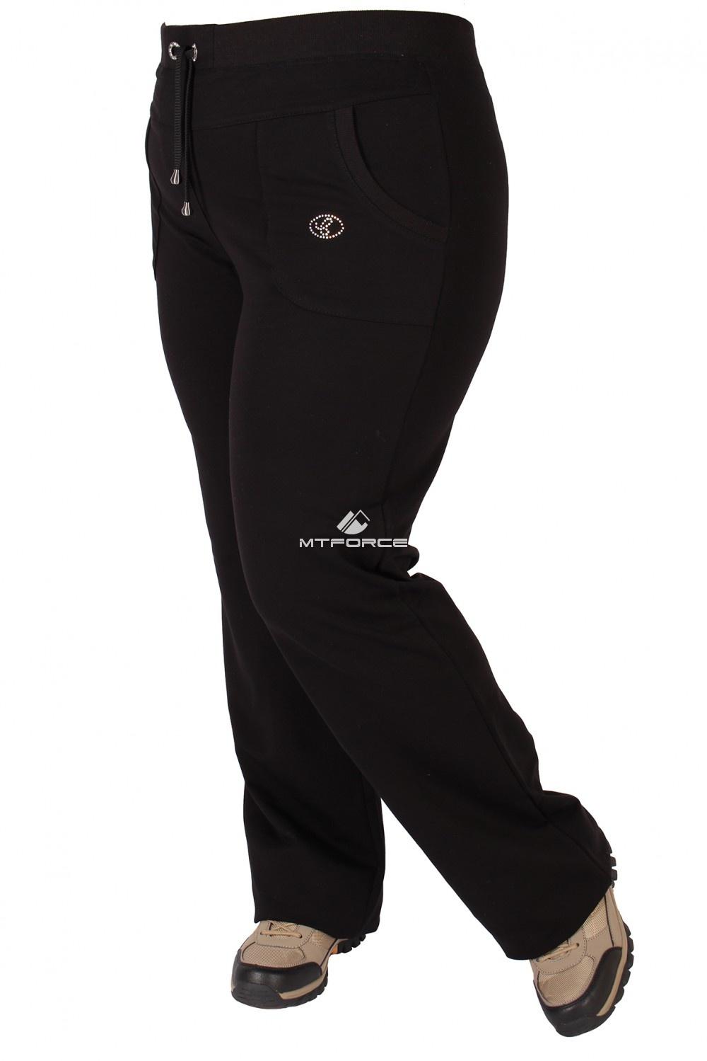 Купить оптом Брюки трикотажные женские большого размера черного цвета 06Ch в Перми