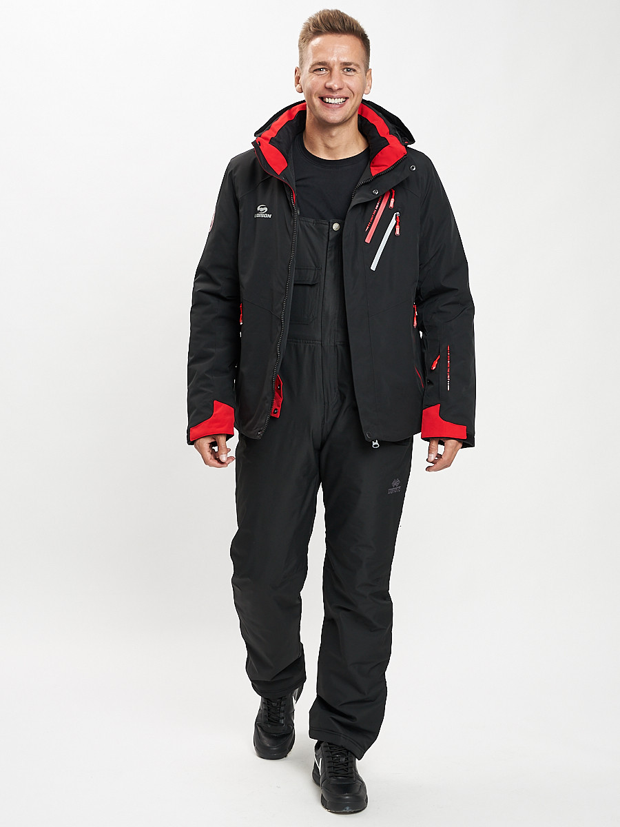 Купить оптом Горнолыжный костюм мужской черного цвета 077010Ch в Екатеринбурге