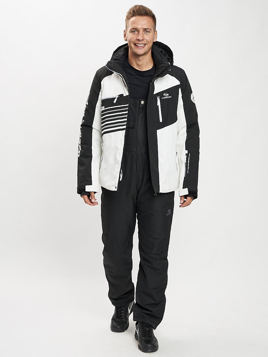 Купить оптом Горнолыжный костюм мужской белого цвета 077012Bl в Екатеринбурге