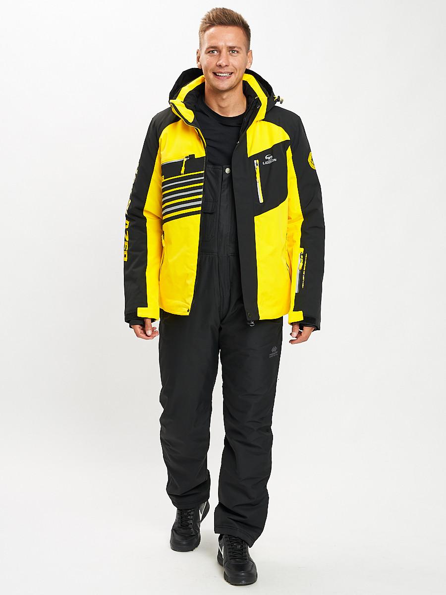 Купить оптом Горнолыжный костюм мужской желтого цвета 077012J в Екатеринбурге