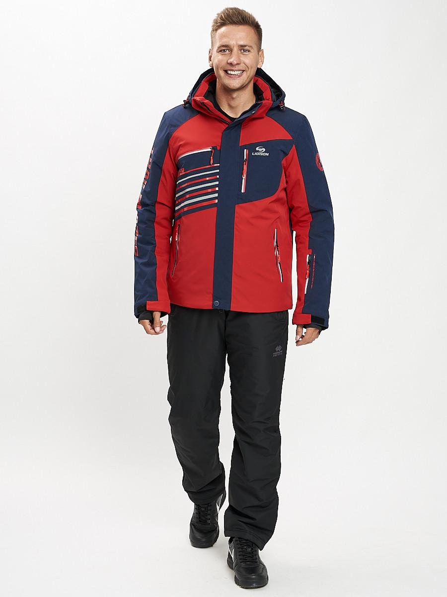 Купить оптом Горнолыжный костюм мужской красного цвета 077012Kr в Екатеринбурге