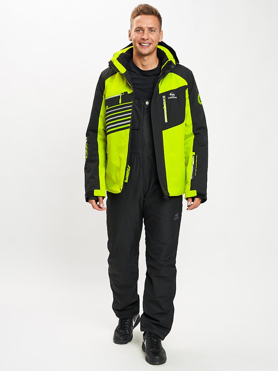 Купить оптом Горнолыжный костюм мужской зеленого цвета 077012Z в Екатеринбурге