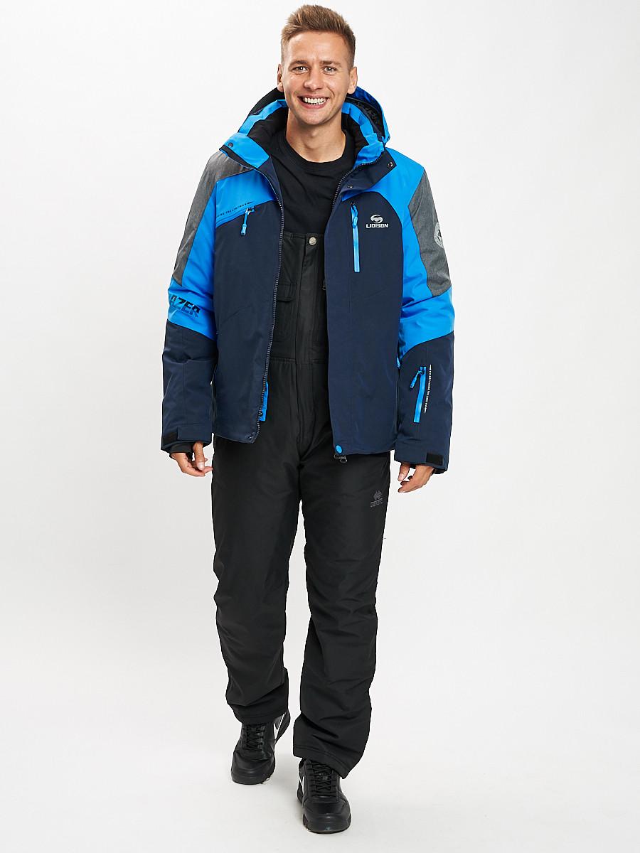 Купить оптом Горнолыжный костюм мужской синего цвета 077013S в Екатеринбурге
