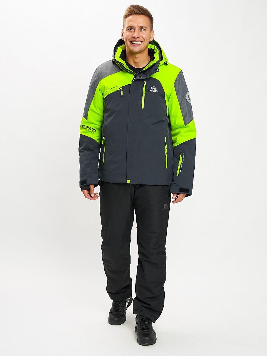 Купить оптом Горнолыжный костюм мужской зеленого цвета 077013Z в Екатеринбурге