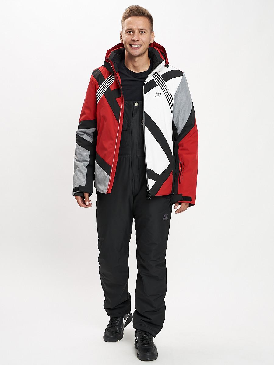 Купить оптом Горнолыжный костюм мужской красного цвета 077015Kr в Екатеринбурге