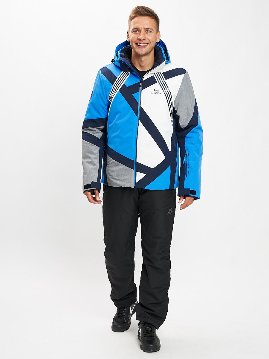 Купить оптом Горнолыжный костюм мужской синего цвета 077015S в Екатеринбурге