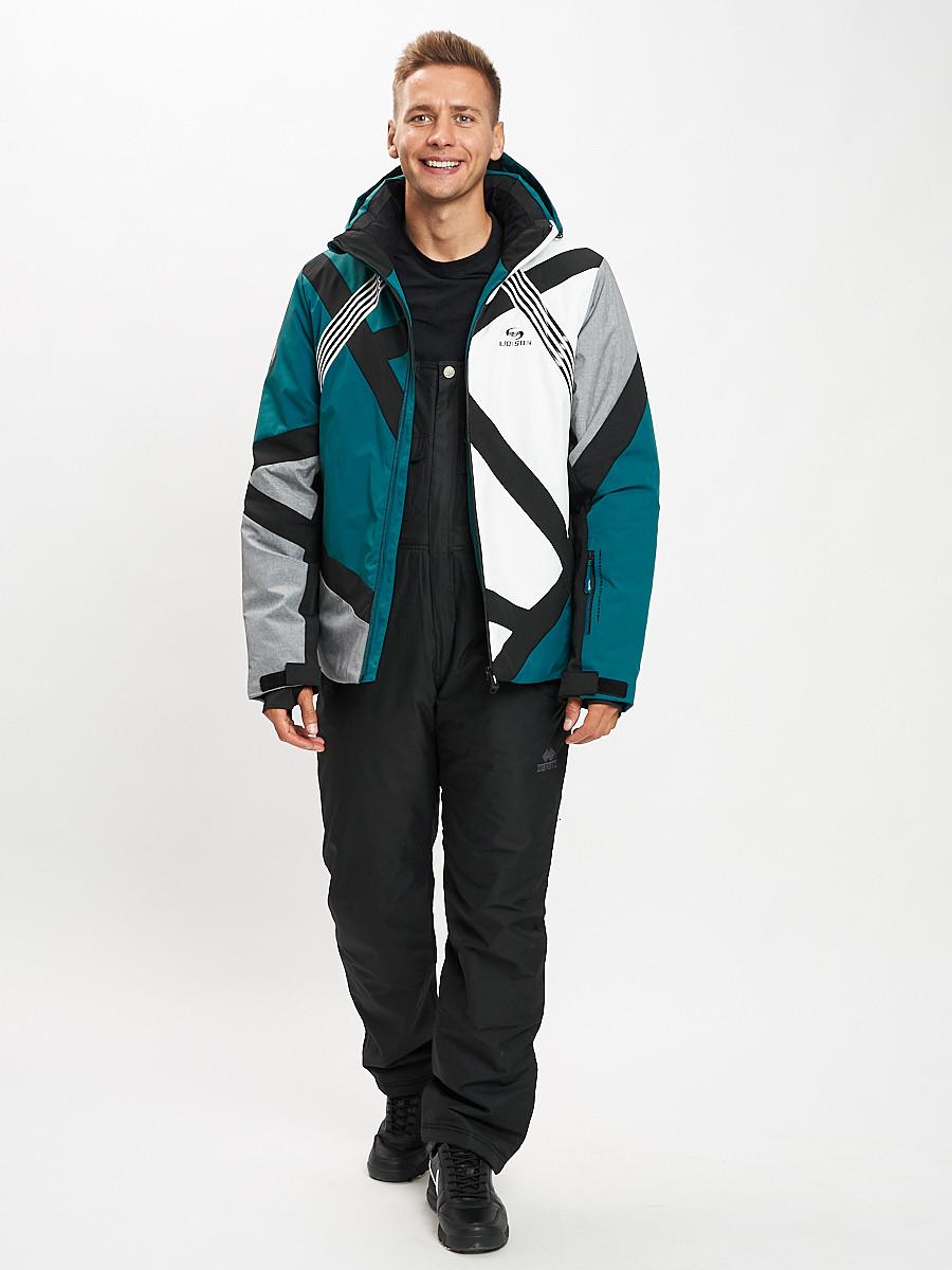 Купить оптом Горнолыжный костюм мужской темно-зеленого цвета 077015TZ в Екатеринбурге
