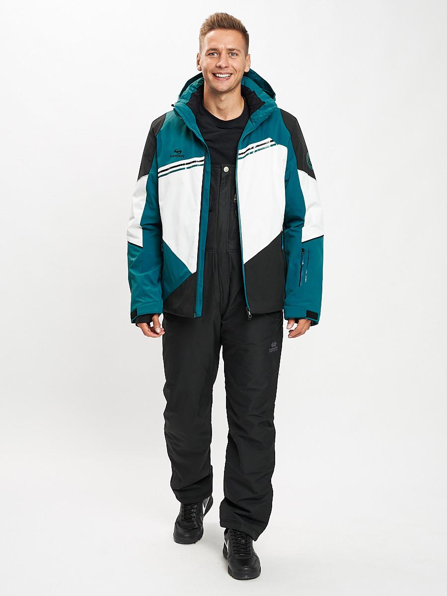Купить оптом Горнолыжный костюм мужской темно-зеленого цвета 077016TZ в Екатеринбурге