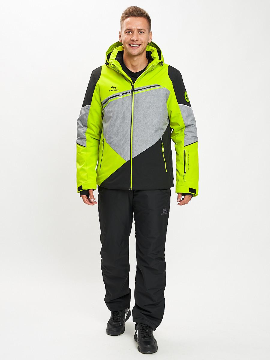 Купить оптом Горнолыжный костюм мужской зеленого цвета 077016Z в Екатеринбурге