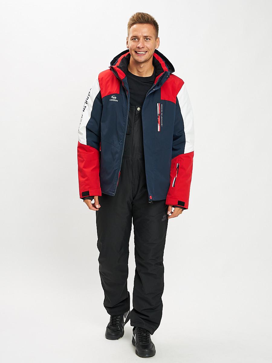 Купить оптом Горнолыжный костюм мужской красного цвета 077018Kr в Екатеринбурге