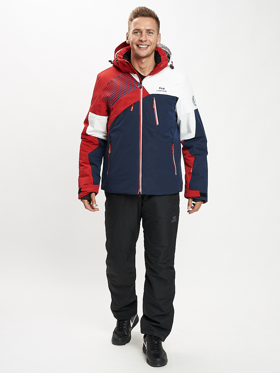 Купить оптом Горнолыжный костюм мужской красного цвета 077019Kr в Екатеринбурге