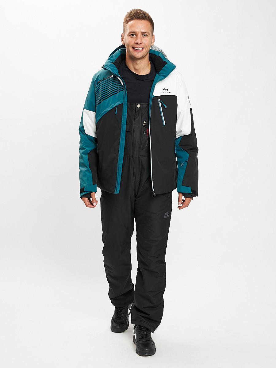 Купить оптом Горнолыжный костюм мужской темно-зеленого цвета 077019TZ в Екатеринбурге