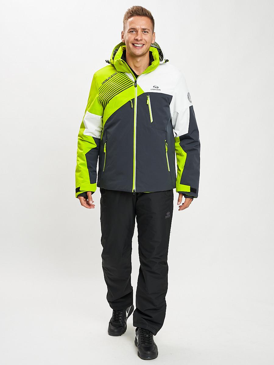 Купить оптом Горнолыжный костюм мужской зеленого цвета 077019Z в Екатеринбурге